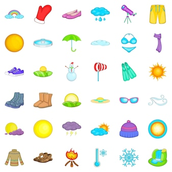 Cold weather icons set, cartoon style
