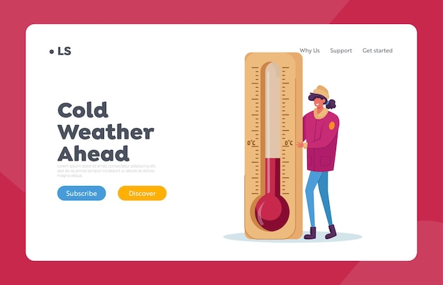 Cold weather landing page template Premium Vector