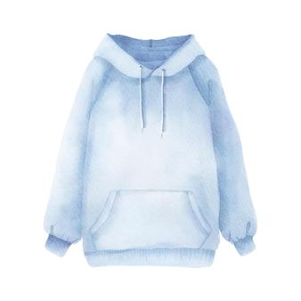 Акварельная стильная модная синяя толстовка с капюшоном для холодной погоды