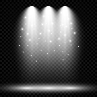 Холодное белое освещение с тремя прожекторами. эффекты освещения сцены на темном прозрачном фоне. векторная иллюстрация