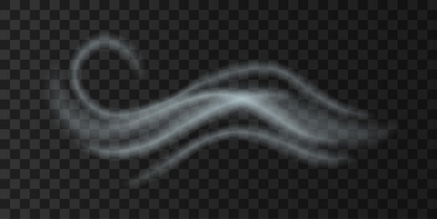 Cold wind fog blow, realistic weather icon. autumn or winter forecast icon with white smoke flying