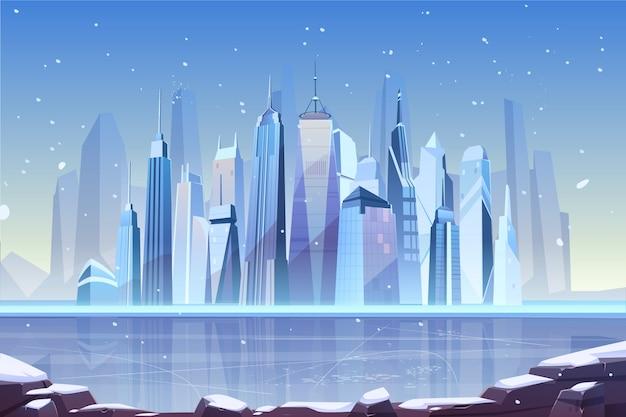 Холодная зима в современной иллюстрации мегаполиса