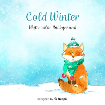 Cold winter watercolor background