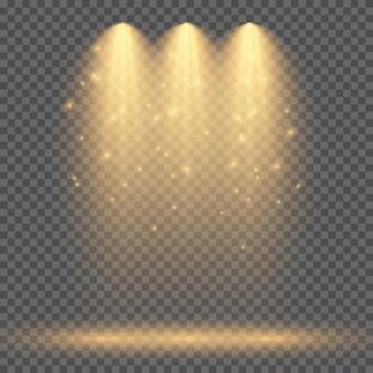 Холодное желтое освещение с тремя прожекторами. эффекты освещения сцены на темном прозрачном фоне. векторная иллюстрация