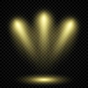3つのスポットライトを備えた冷たい黄色の照明。暗い透明な背景のシーン照明効果。ベクトルイラスト