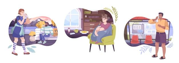 사람 캐릭터가 차가워지는 실외 및 집에서 볼 수있는 평면 구성의 감기 증상 세트