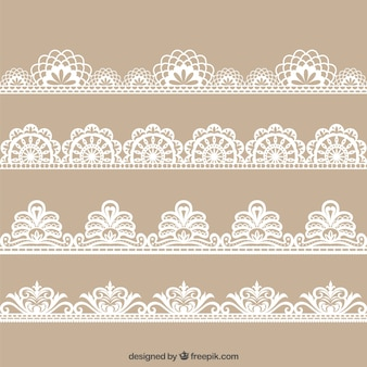 Colecction of hand drawn floral lace decoration