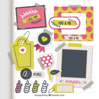 Colecction of scrapbooking elements in flat design