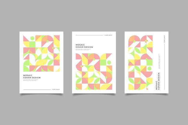 Коллекция мозаики обложки цветов пастель