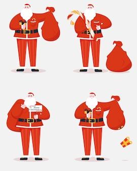 サンタクロースとバッグギフトのコレクション