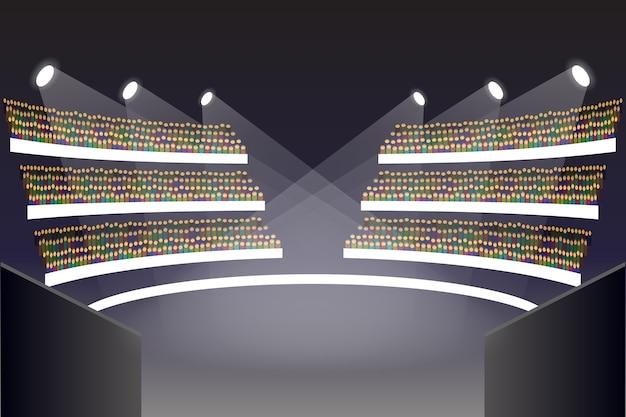 Сцена арены колизея. зрительный зал и амфитеатр, балкон, трибуна, церемония и иллюстрация здания театра