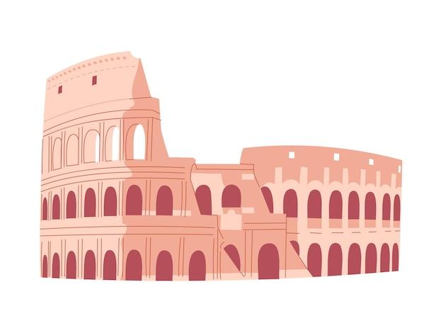 ローマのコロシアム。イタリアの観光。ベクトルイラスト。