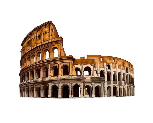 이탈리아 로마의 콜로세움은 페인트의 현실적인 벡터 그림 그리기를 색칠했습니다.