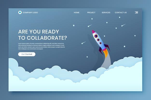Шаблон целевой страницы collaborate startup project