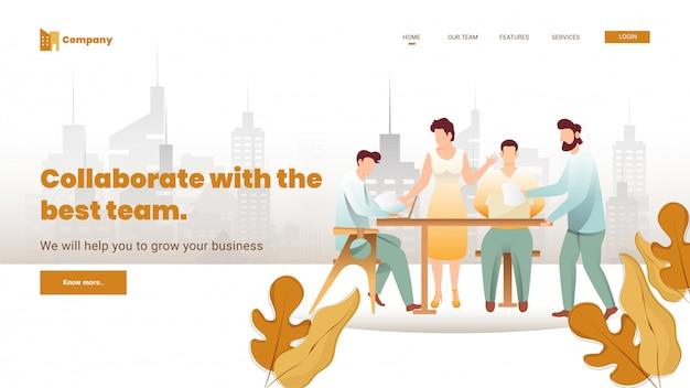 최고의 팀 개념 기반 랜딩 페이지 디자인과 공동 작업