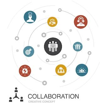 シンプルなアイコンとコラボレーションカラーサークルコンセプト。チームワーク、サポート、コミュニケーション、モチベーションなどの要素が含まれています