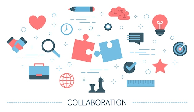 Collaboration concept. idea of partnership and teamwork. communication with partner and support while working together. isolated