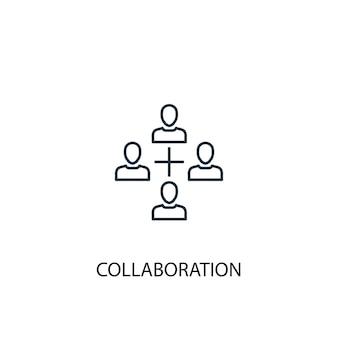 コラボレーションコンセプトラインアイコン。シンプルな要素のイラスト。コラボレーションコンセプト概要シンボルデザイン。 webおよびモバイルui / uxに使用できます