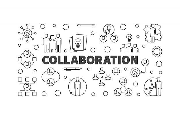 Collaboration concept outline icon illustration or banner