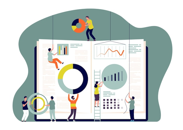 Collaboration concept. people insert charts into book, employees build business metrics. cooperate and learn together vector image. illustration business people teamwork, together work team