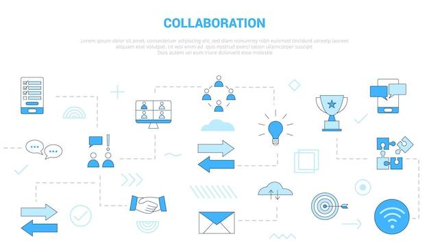 Концепция сотрудничества с набором иконок, шаблон баннера в современном стиле синего цвета