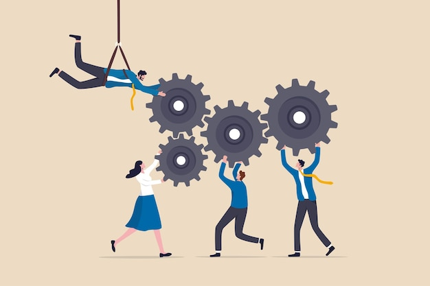 Collaboration or cooperate for team success, working together as teamwork to solve problem and achieve target concept, businessman and businesswoman team up to help connect gear or cogwheels together.