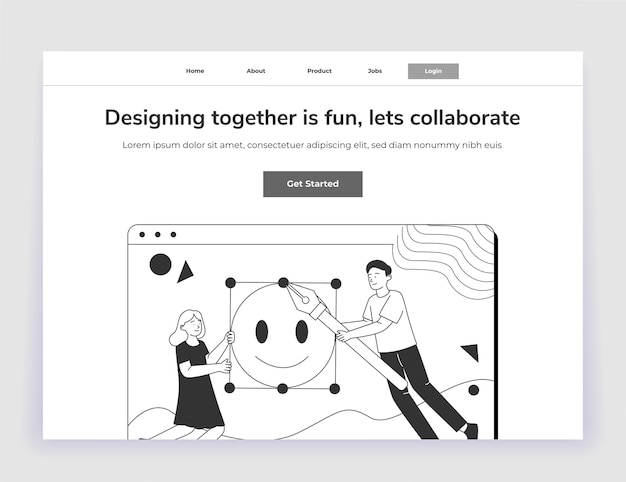 Collaboration illustration design landing page ui