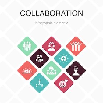 コラボレーションインフォグラフィック10オプションのカラーデザイン。チームワーク、サポート、コミュニケーション、モチベーションシンプルなアイコン