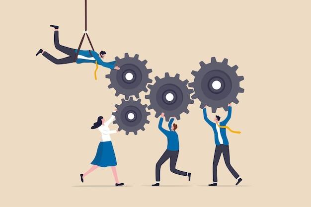 팀 성공을 위해 협력하거나 협력하고, 문제를 해결하고 목표 개념을 달성하기 위해 팀워크로 함께 일하고, 사업가와 여성 사업가는 기어나 톱니바퀴를 함께 연결하는 데 도움을 줍니다.