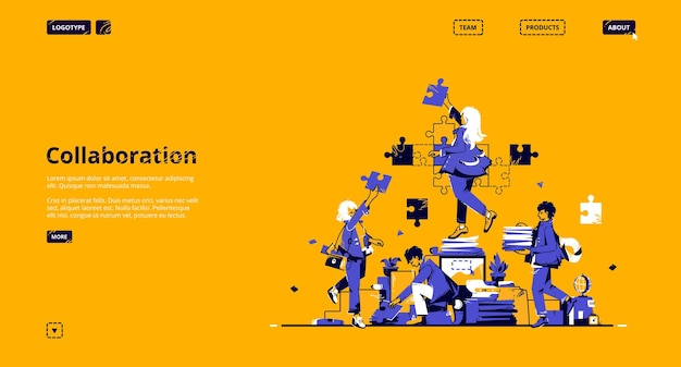 Collaboration and teamwork landing page. concept of partnership, support and communication in business.
