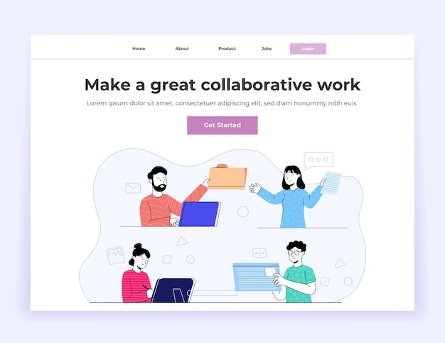 Collaboration work group of young people landing page