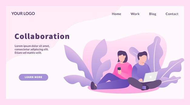 Сотрудничество работник пара мужчина и женщина для шаблона веб-сайта или посадки вектор домашней страницы