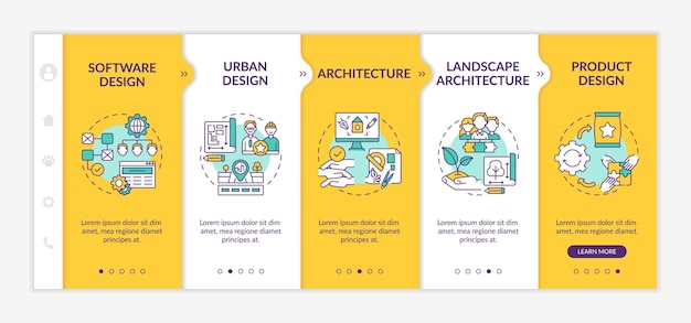 Collaborative design application fields onboarding  template. software, urban designing. architecture. responsive mobile website with icons. webpage walkthrough step screens. rgb color concept