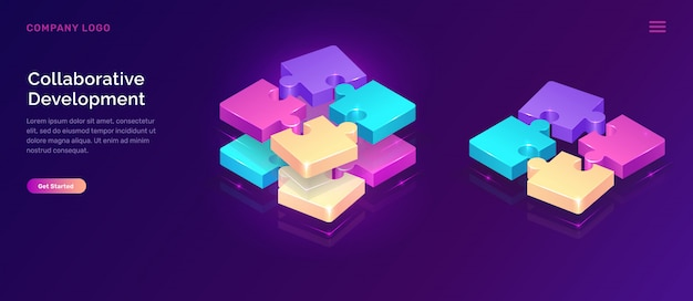 Collaborative development banner, isometric concept