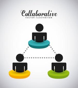 協力的な人々のデザイン、ベクトルイラストeps10グラフィック
