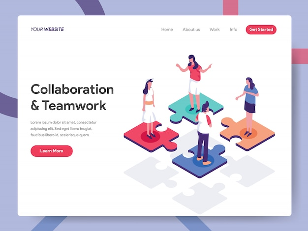 Collaborative and teamwork landing page