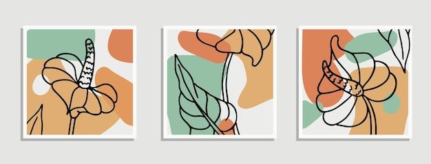 コラージュ抽象的な有機的な形現代アートポスターのセットコレクション最小限の自然な壁