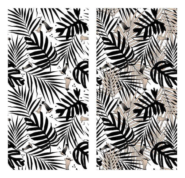 Collage of black and white tropical leaves and flowers shapes seamless pattern.