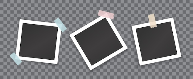 Collage of blank photographs with stickers isolated on transparent background. vector mockup of white square photoframes glued with colored scotch tape