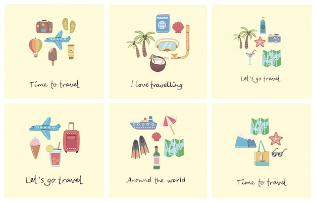 Collage cards set of travel related symbols