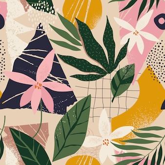 현대 꽃과 폴카 도트 모양 원활한 패턴 콜라주