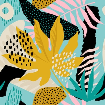 Collage contemporary floral hawaiian pattern in vector. Seamless surface design.