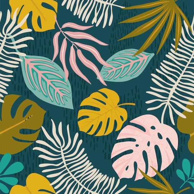 コラージュ現代花ハワイアンパターン