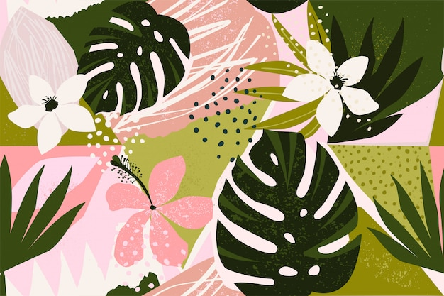 Collage contemporary floral seamless pattern.