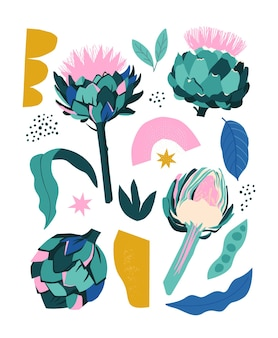 Collage contemporary stylized artichoke and abstract shapes