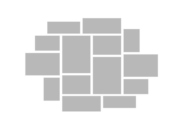 コラージュグリッド。ムードボードの写真モザイク。フォトモンタージュベクトルイラスト。画像コレクションのデザインテンプレート。ベクトルコラージュモックアップ
