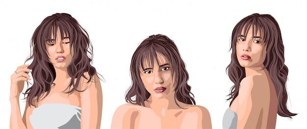 Коллаж красивой кавказской девушки с челкой позирует. выражение нежности
