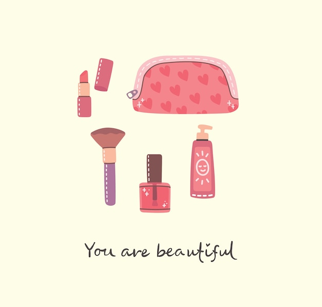 化粧品やボディケア製品のコラージュが補います。フラットスタイルのベクトルモダンなイラスト。