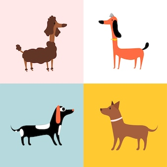 Collage of different breeds of dogs