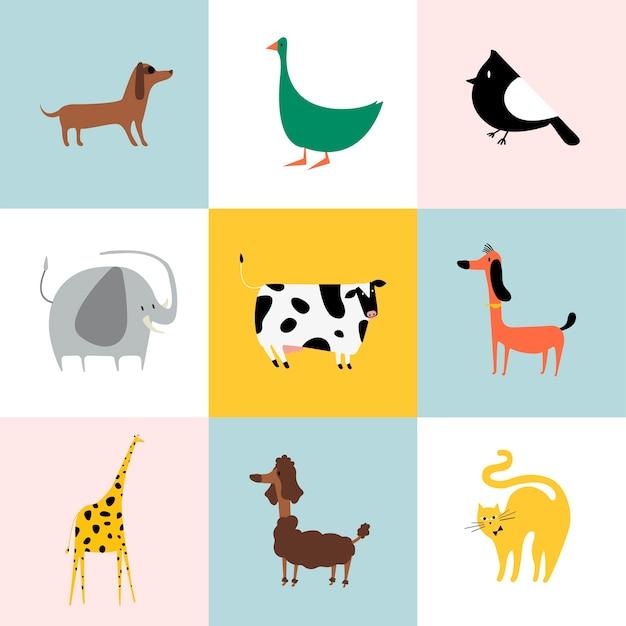 異なる種類の動物のコラージュ
